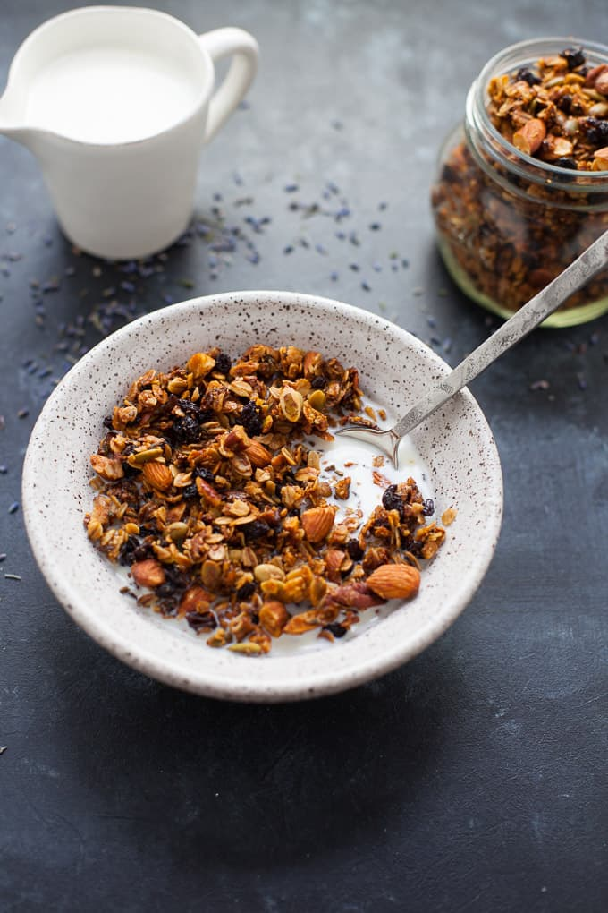 delicious lavender granola, easy to make gluten free!