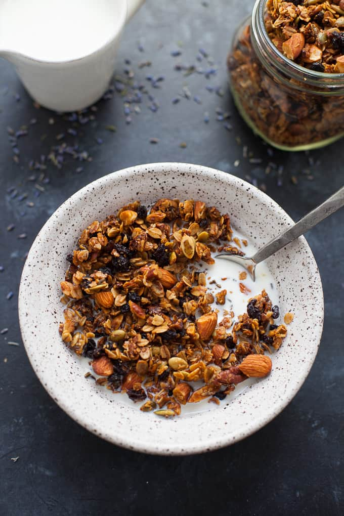 Floral and reminiscent of springlike temps that are hopefully on their way, this lavender granola is perfect paired with milk, yogurt, or just eaten straight out of the jar!