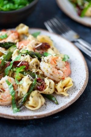 Three Cheese Tortellini with Pesto Shrimp and Asparagus