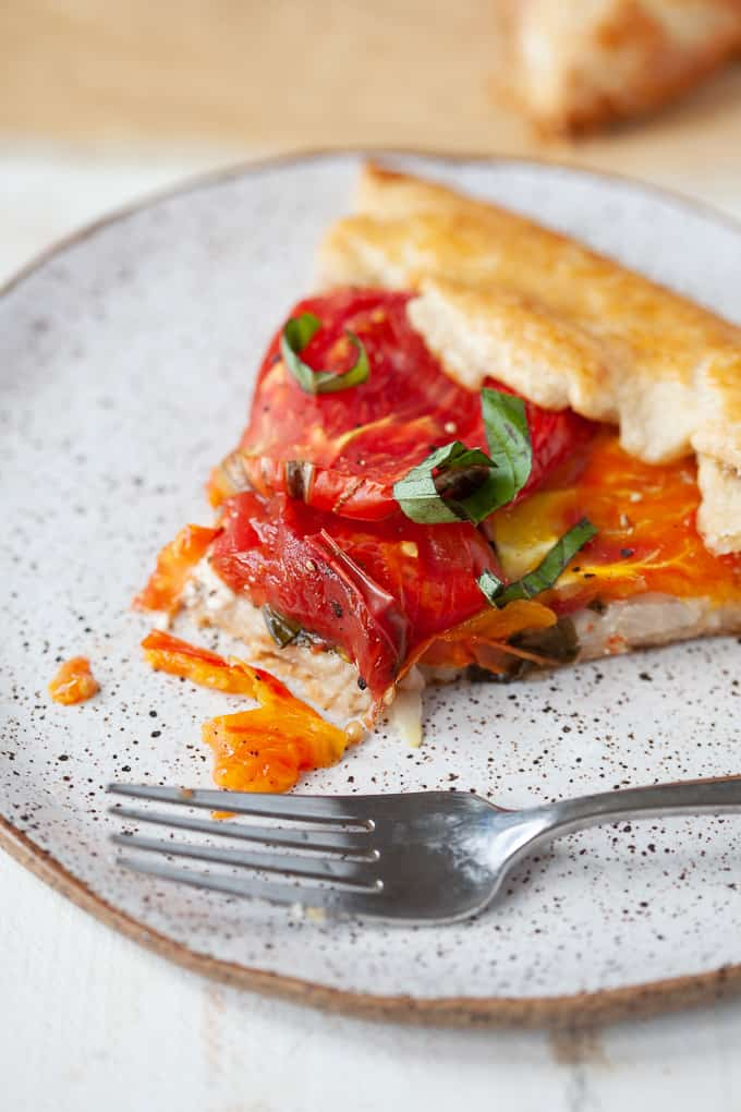 #vegetarian heirloom #tomato basil galette with goat cheese