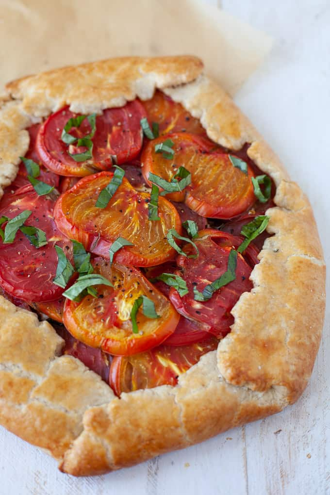 heirloom tomato basil galette with goat cheese #vegetarian
