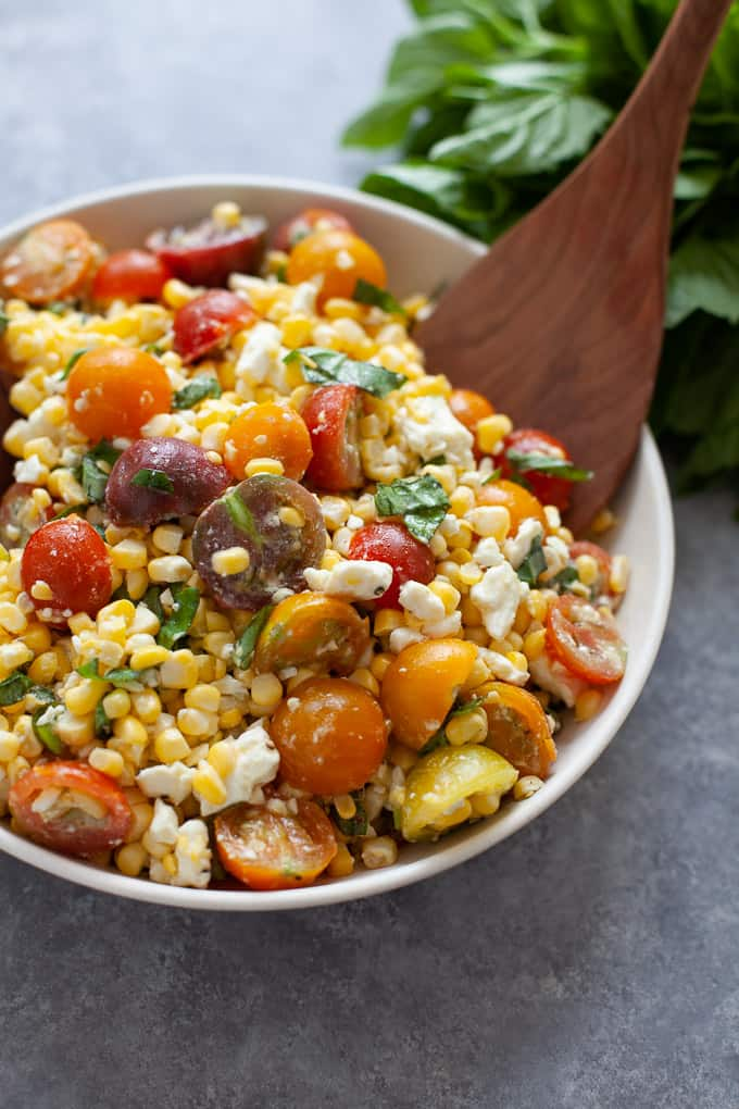 6 ingredient corn and tomato salad with feta cheese and basil