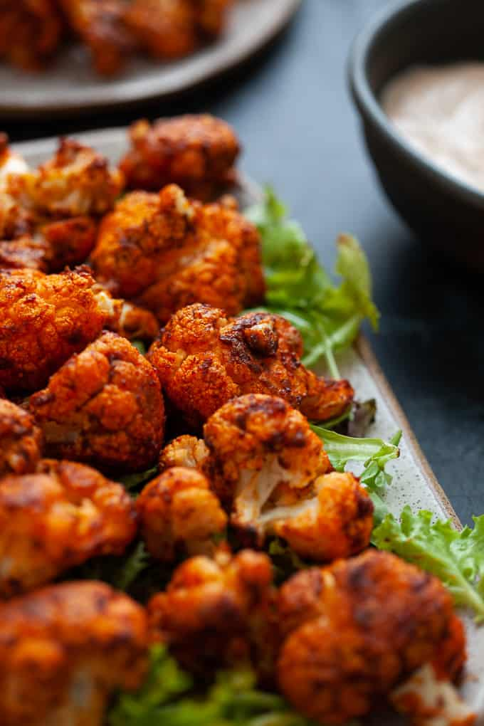 cauliflower wings wit harissa #vegetarian