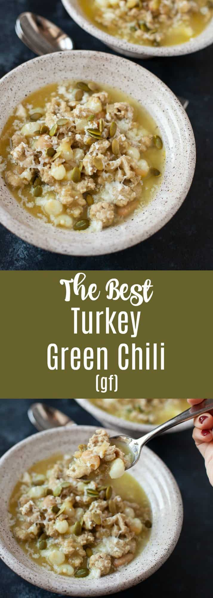 Spicy, warming, and satisfying, this turkey green chili is perfect for cooler weather. It's fantastic for leftovers, and makes for an easy, healthy meal to eat throughout a busy week. #chili #turkey #greenchili #gf #glutenfree