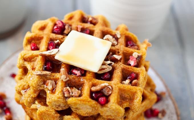 Dairy Free Whole Wheat Butternut Squash Waffles