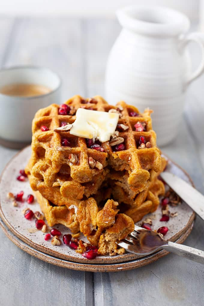 dairy free whole wheat butternut squash waffles