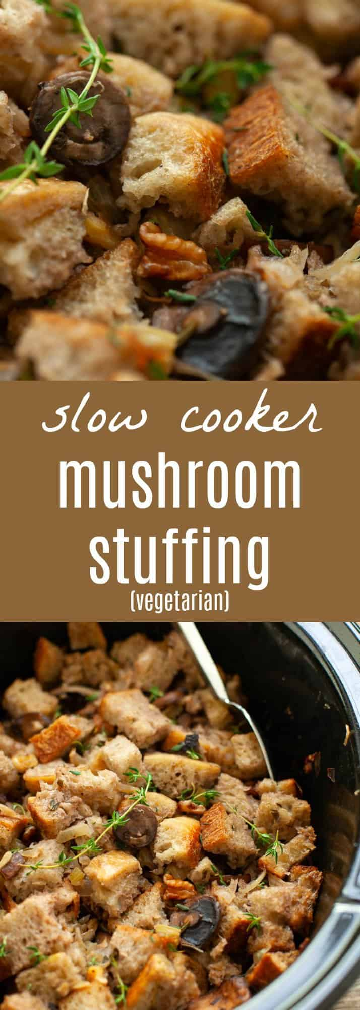 A delicious, savory, umami-filled side dish, this slow cooker mushroom stuffing will not take up any oven space on Thanksgiving! #thanksgiving #stuffing #mushroom #vegetarian