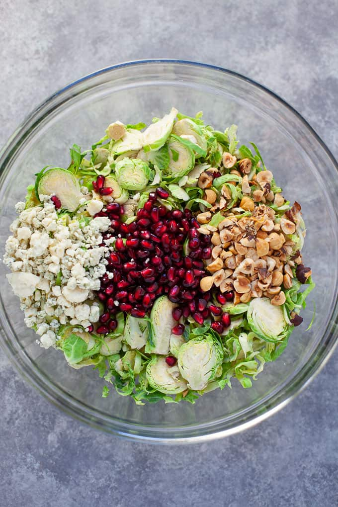 holiday shaved brussels sprout salad