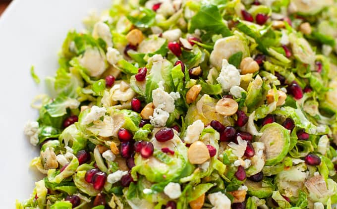 Holiday Shaved Brussels Sprout Salad with Pomegranate