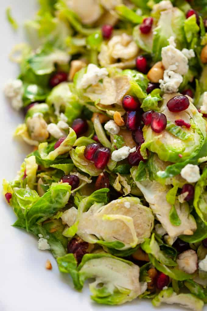 holiday shaved brussels sprout salad with citrus dressing #holiday #salad