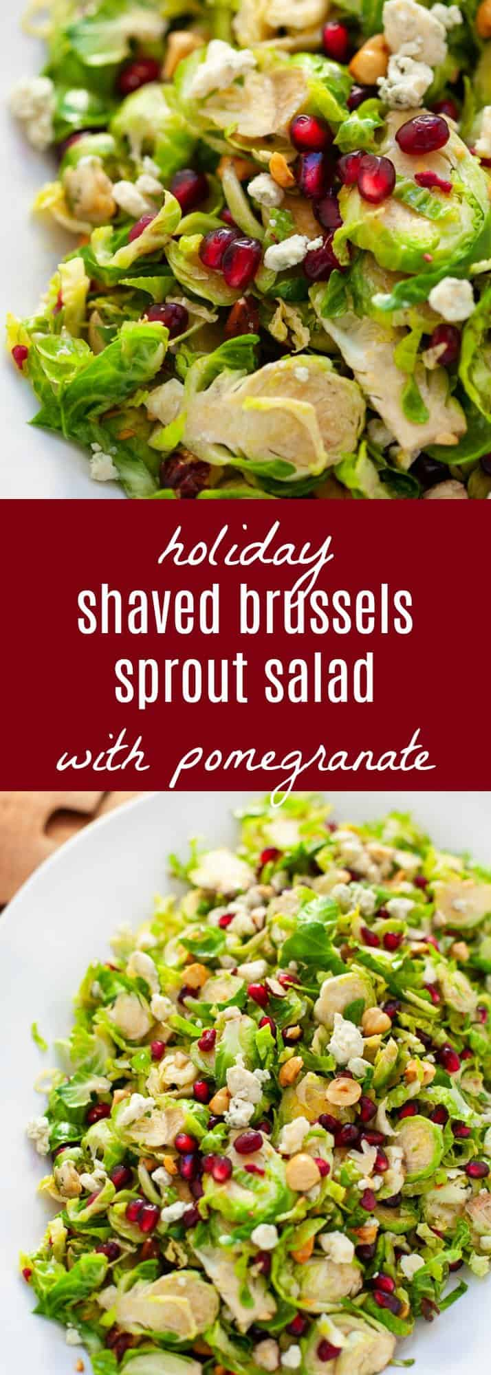 Looking for a festive salad to serve up this holiday season? You and your guests will love my easy and delicious shaved Brussels sprout salad with pomegranate with a citrus vinaigrette. #holiday #salad