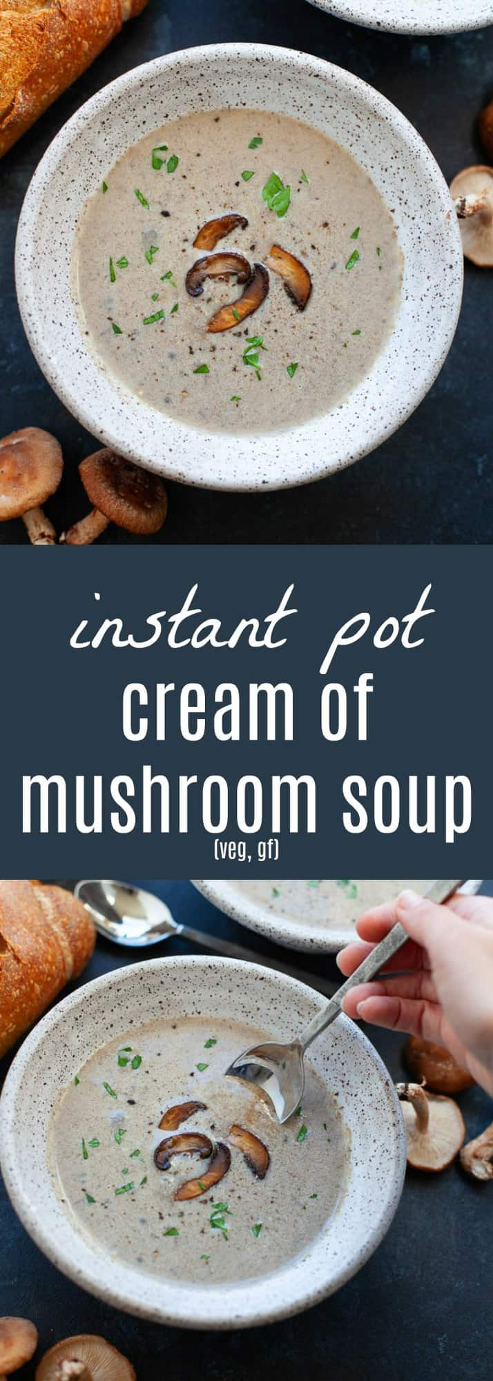 Perfect for the holidays or wintertime, this Instant Pot Cream of Mushroom Soup, is creamy, savory and full of umami! #InstantPot #soup #mushrooms