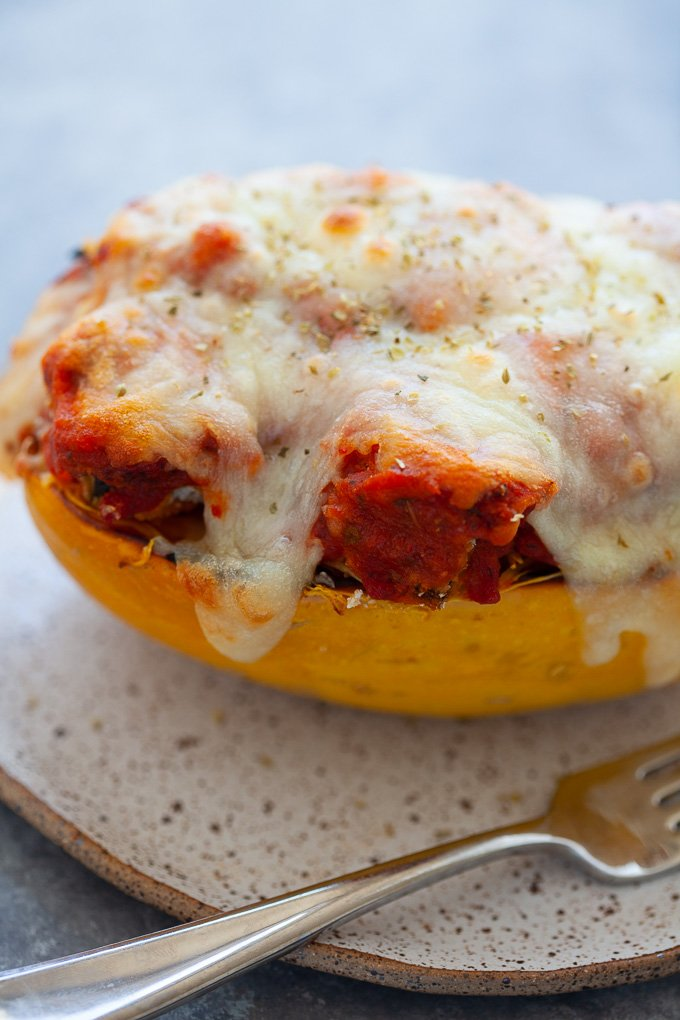 Eggplant Parmesan Spaghetti Squash Boats #vegetarian