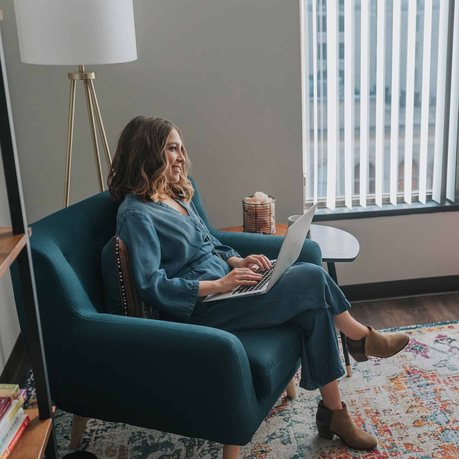 Kara hanging out in the office of her private practice