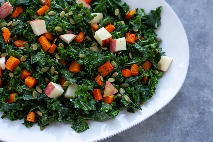 Winter Kale Salad with Kefir Dressing