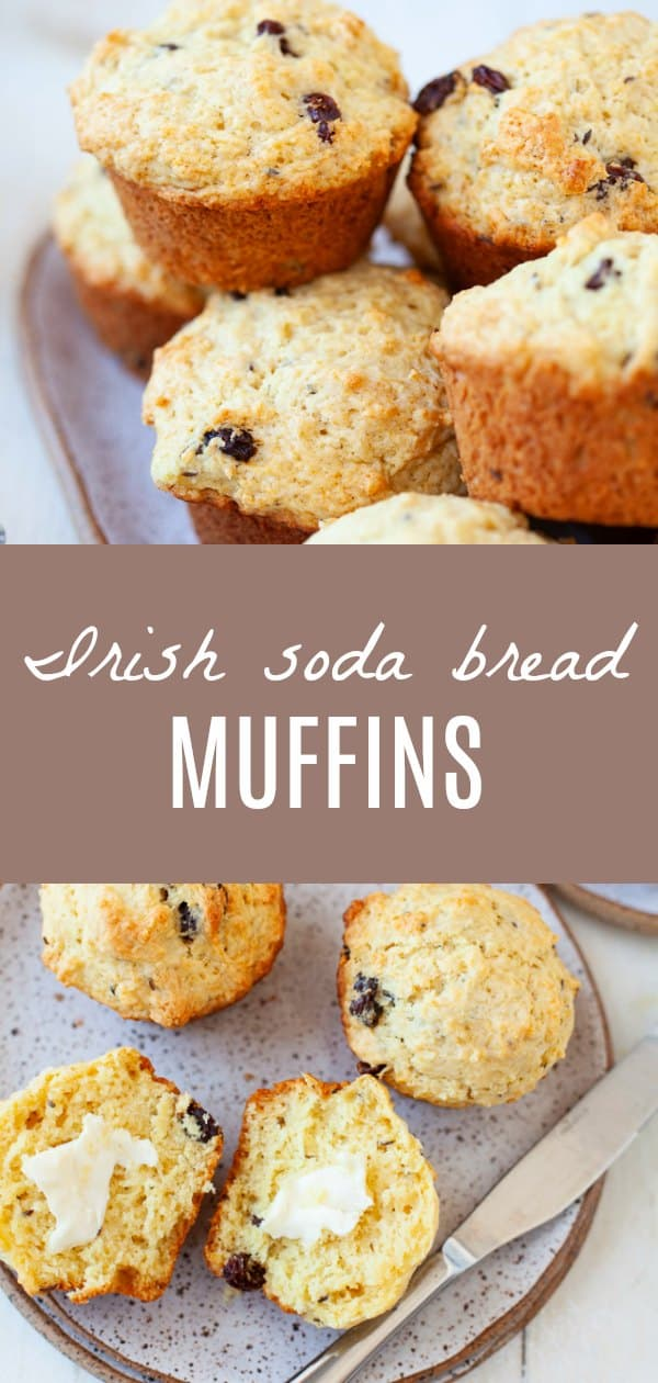 These Irish soda bread muffins are an Irish girl's DREAM. Imagine the flavor of Irish soda bread with the fluffy texture of a muffin. This recipe is perfect to have around for breakfast, especially during St. Patrick's Day weekend! #StPatricksDay #sodabread #Irish