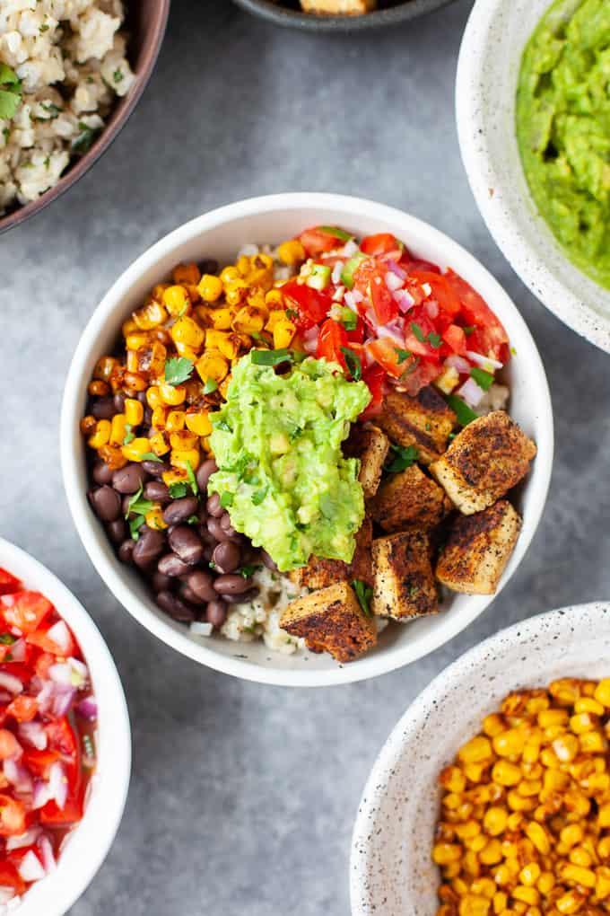 vegan burrito bowl with fresh guacamole