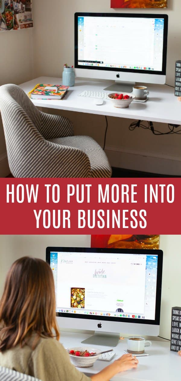 Wondering how to put more into your business? I'm sharing tips that have helped me put more into my passions and be a successful nutrition entrepreneur. #entrepreneur #boss #business