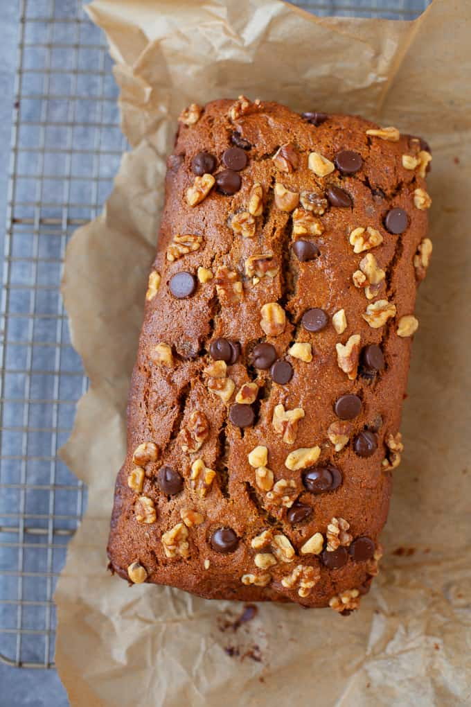 This Tahini Chocolate Chip Banana Bread is perfect for an afternoon snack, breakfast or even dessert! All the goodness of banana bread plus that delicious nutty flavor from the tahini! #bananabread #tahini #chocolate