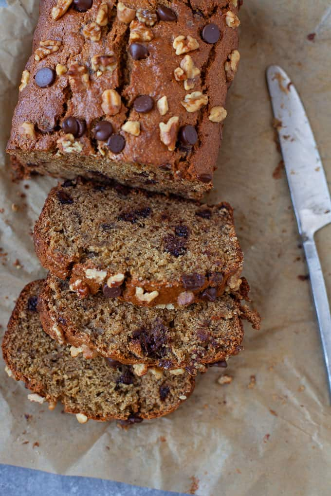 banana bread with tahini and chocolate