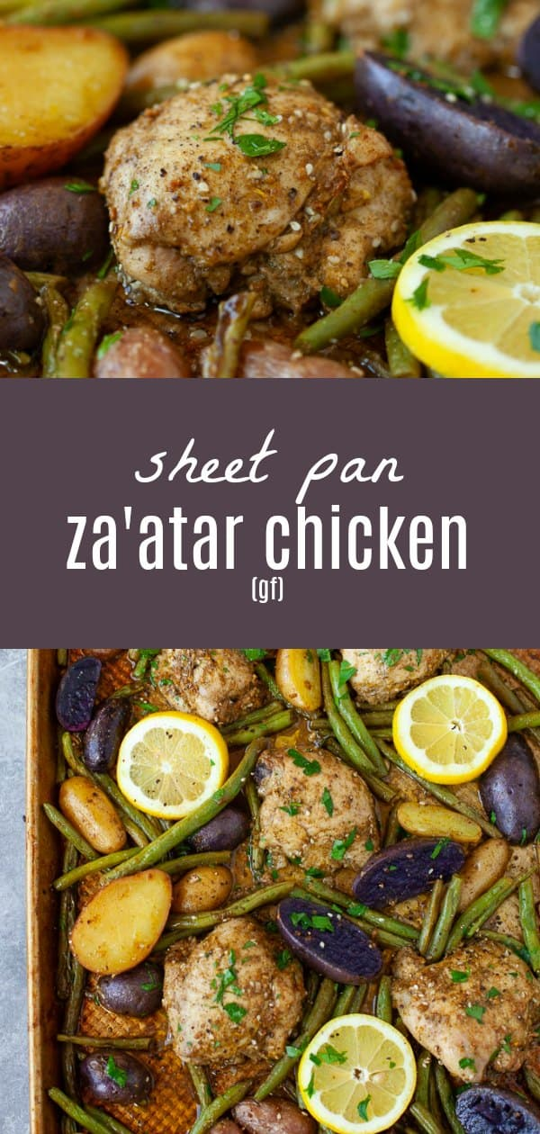 An easy, one-pan meal, this sheet pan za'atar chicken with potatoes and green beans is the perfect nourishing dinner for a busy weeknight.#sheetpan #chicken #onepan #zaatar