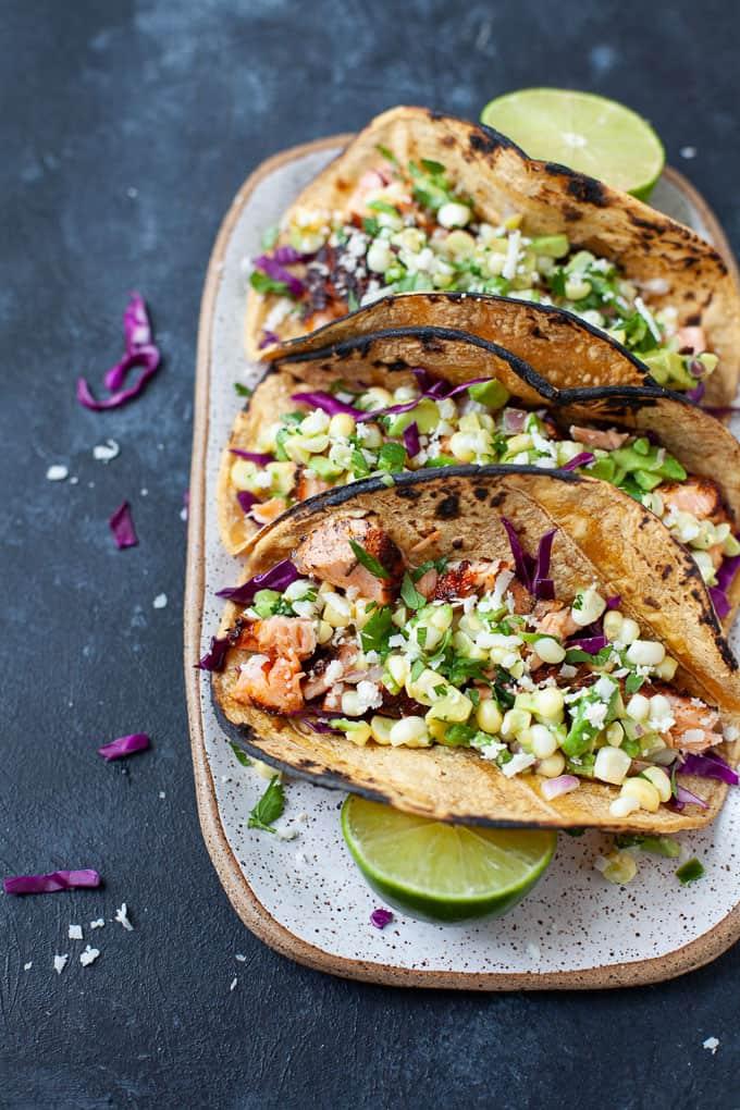 blacked salmon tacos