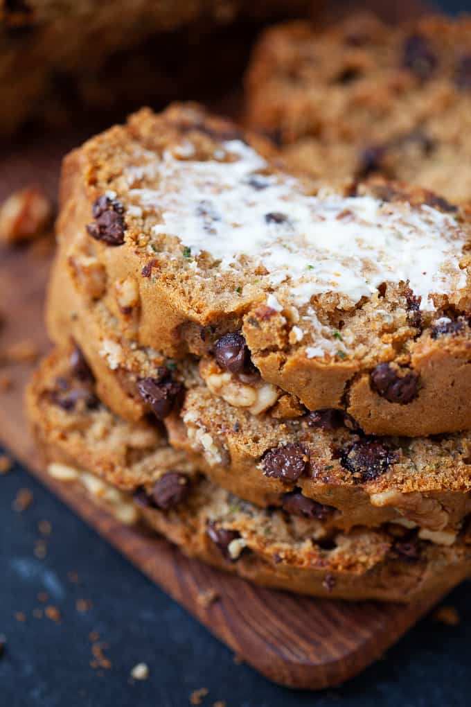 slices of chocolate chip zucchini bread with butter