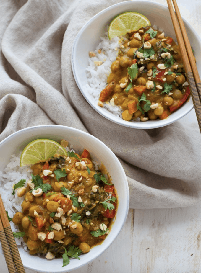 pumpkin curry served in two dishes