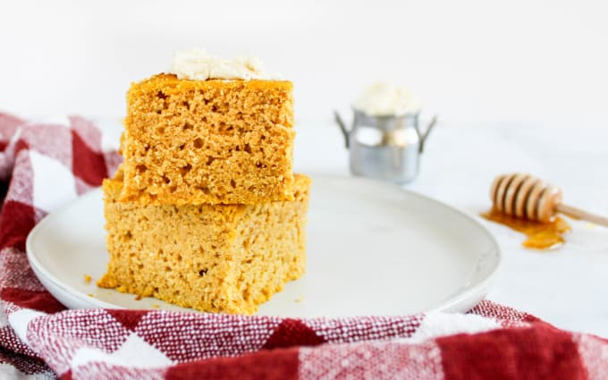 pumpkin cornbread served with whipped maple butter