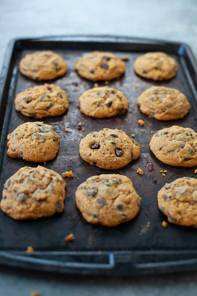 Gluten Free Pumpkin Chocolate Chip Cookie laid out on baking sheet