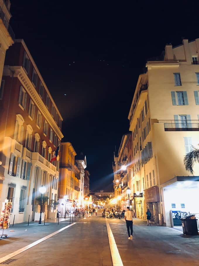 nighttime street view in Nice, France