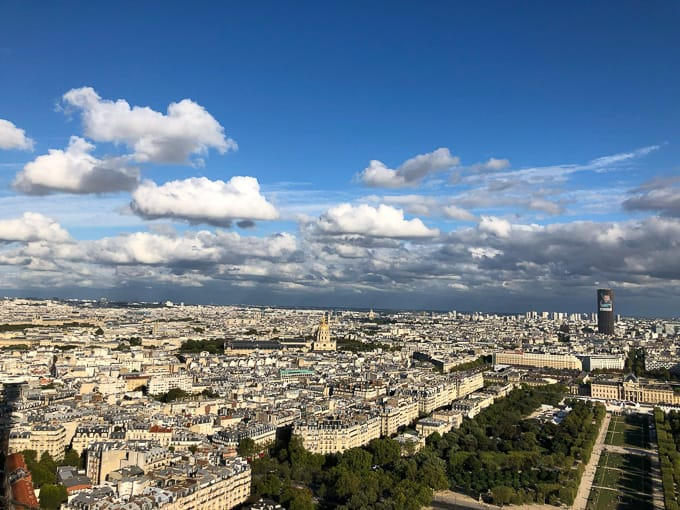 Paris city views from the Eiffel Tower