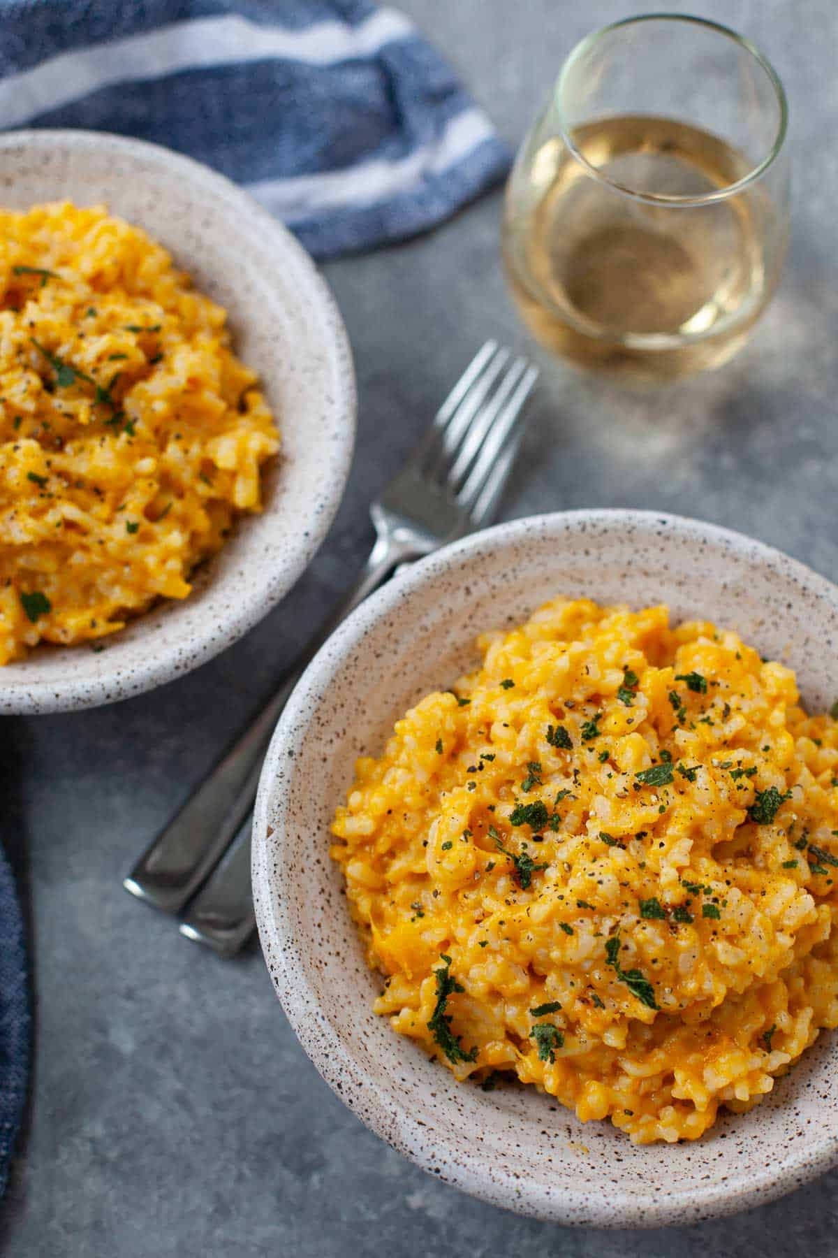 butternut squash risotto with a glass of wine