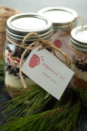 peppermint hot chocolate ingredients in a jar
