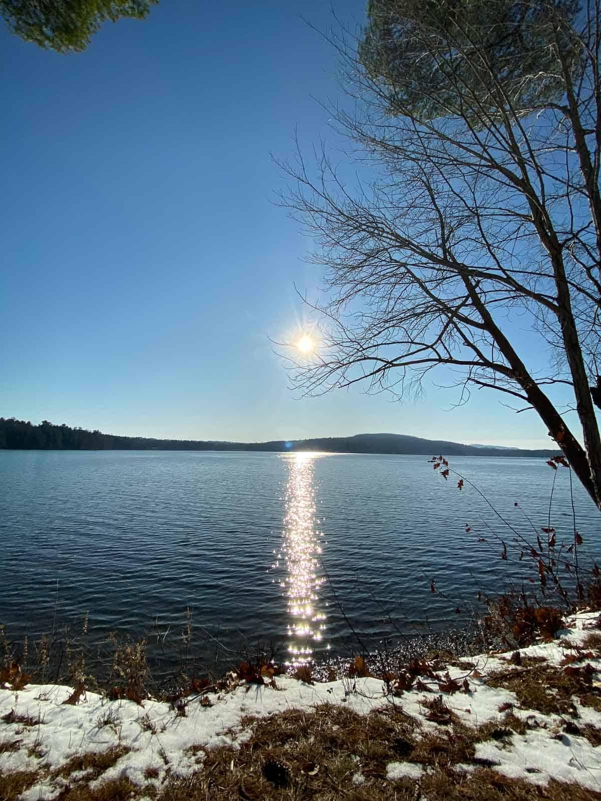 sunny day on the Kripalu lake