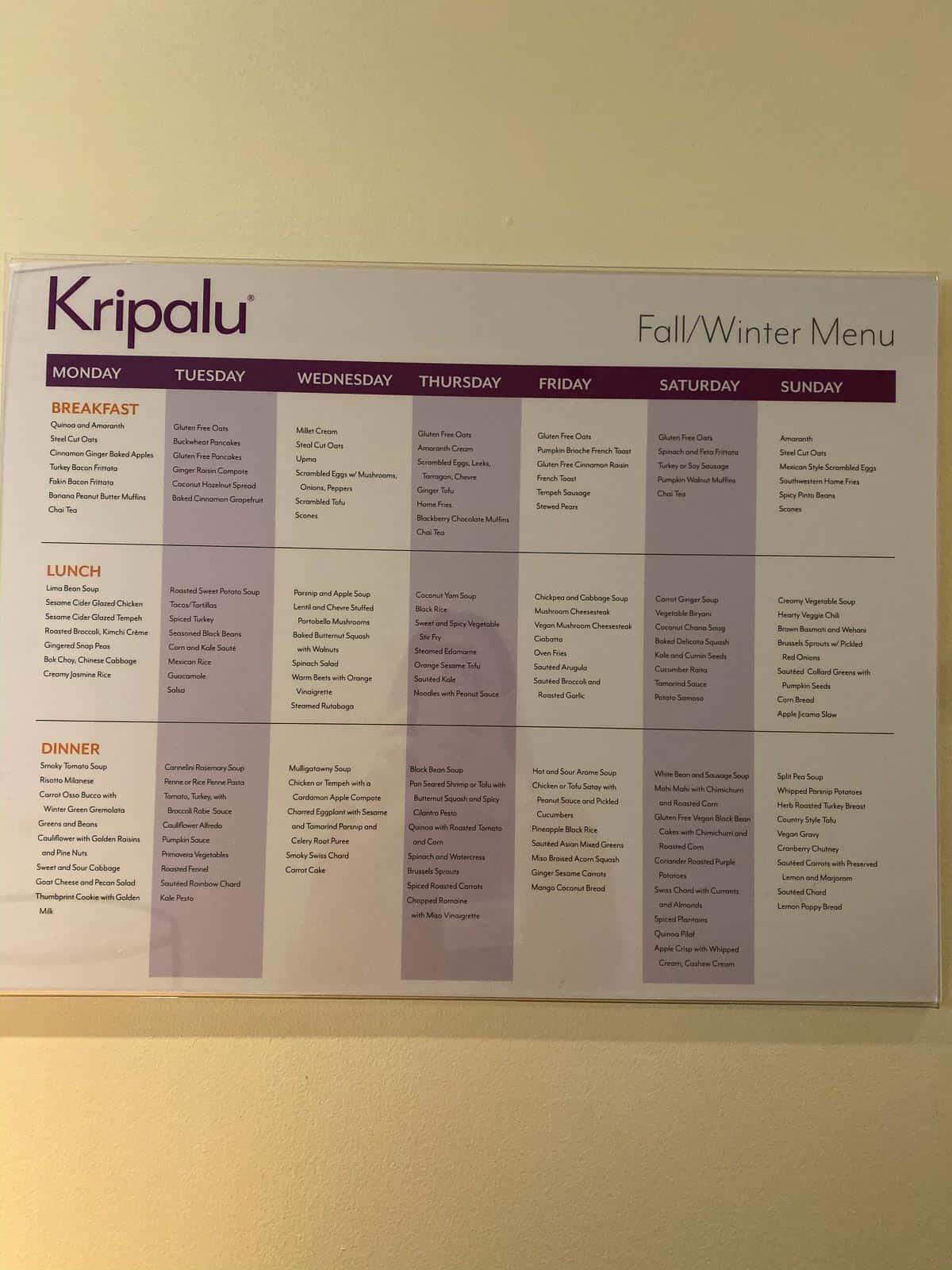 Kripalu cafeteria menu