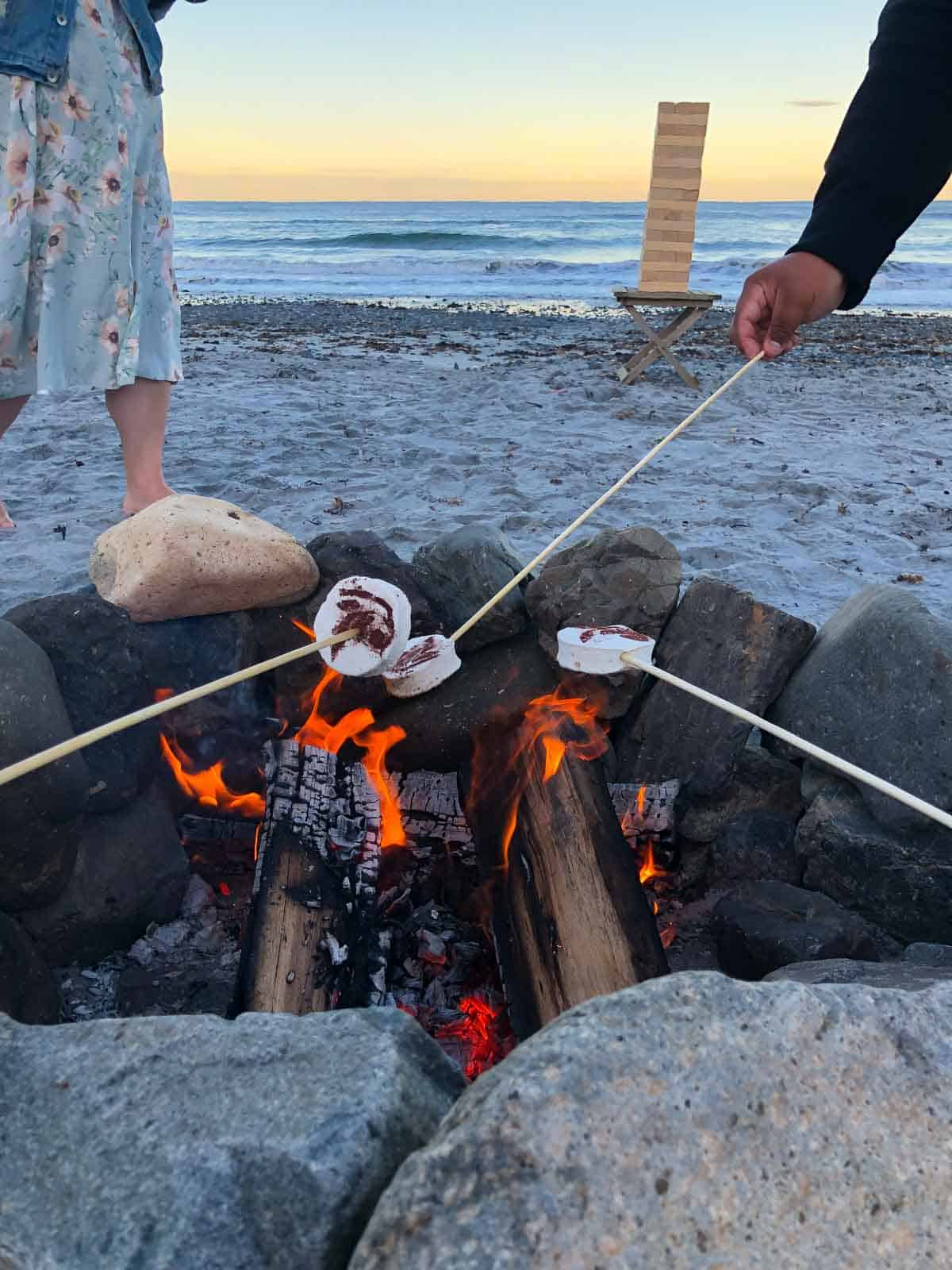 roasting marshmallows over a bonfire