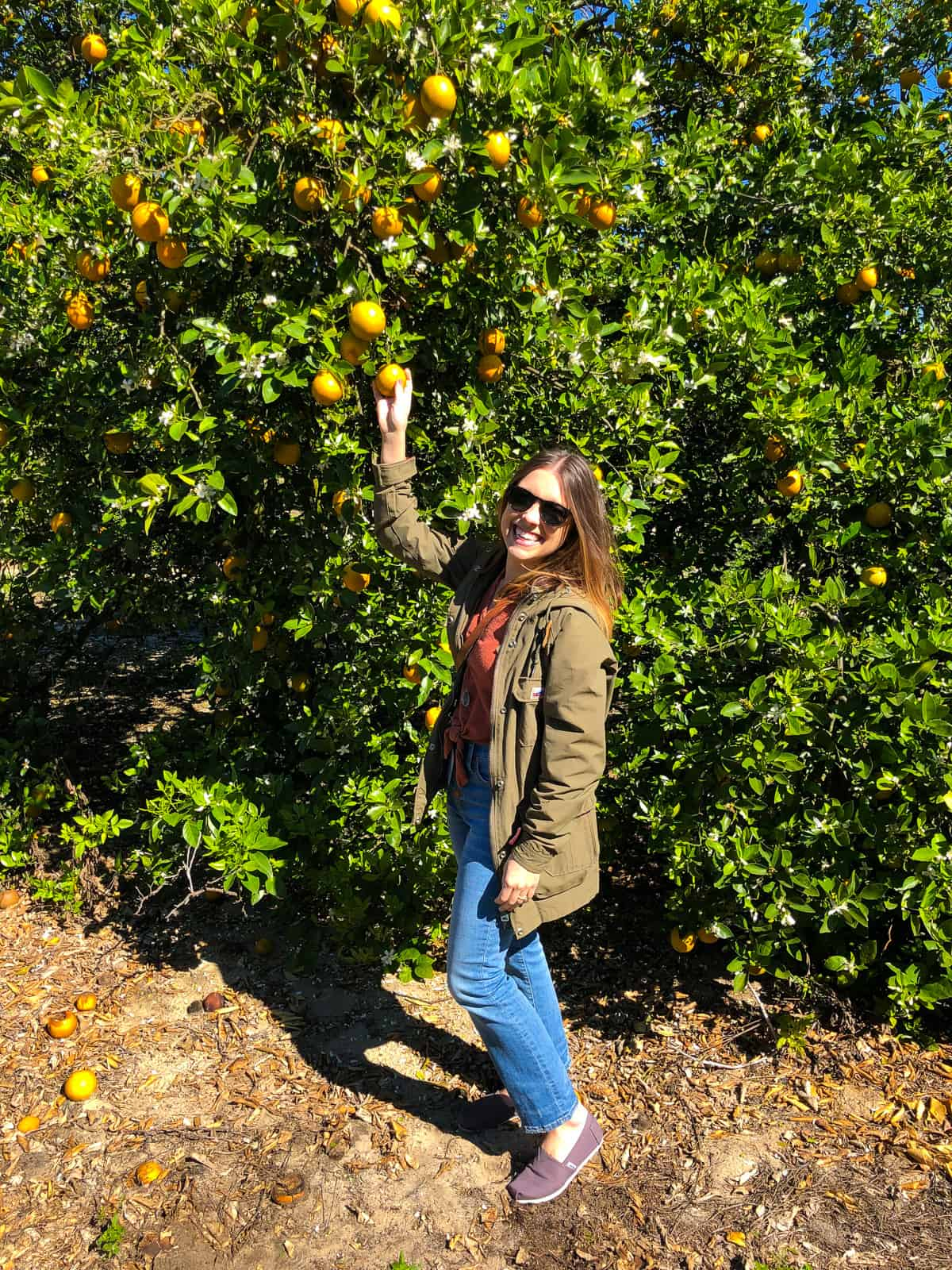 Kara in front of a citrus tree