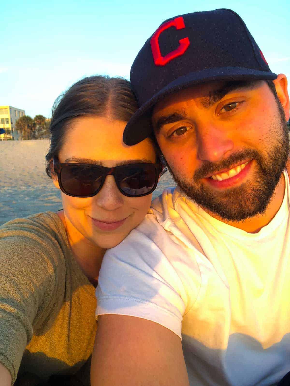 Kara and Steve on the beach in Florida
