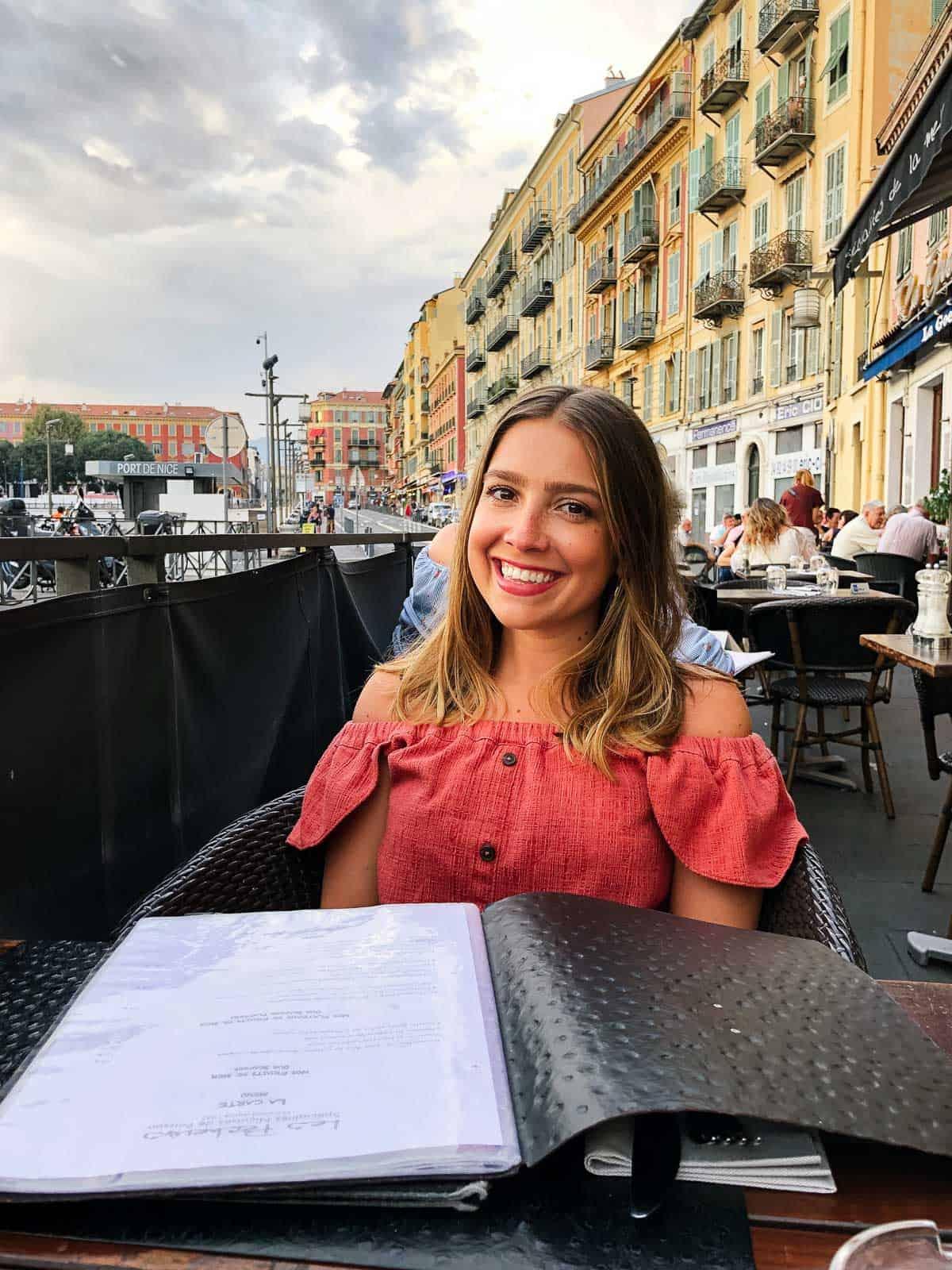 Kara visiting a restaurant in France