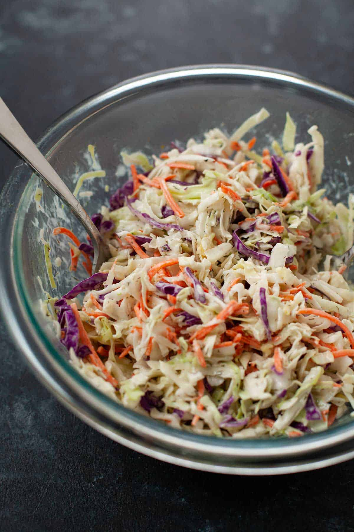 ranch slaw mixed in bowl