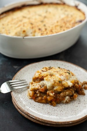 vegan shepherd's pie made with mashed cauliflower and lentils