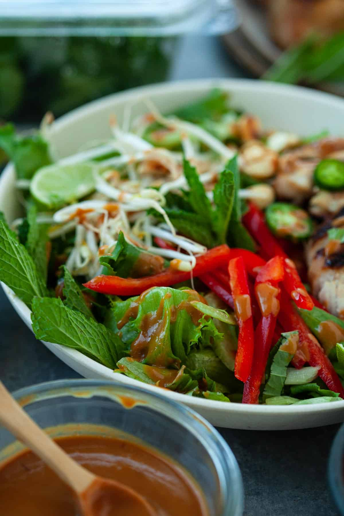 tossed thai chicken salad with fresh greens and veggies