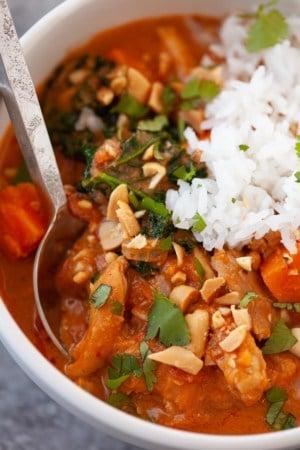 fresh west african peanut stew with chicken