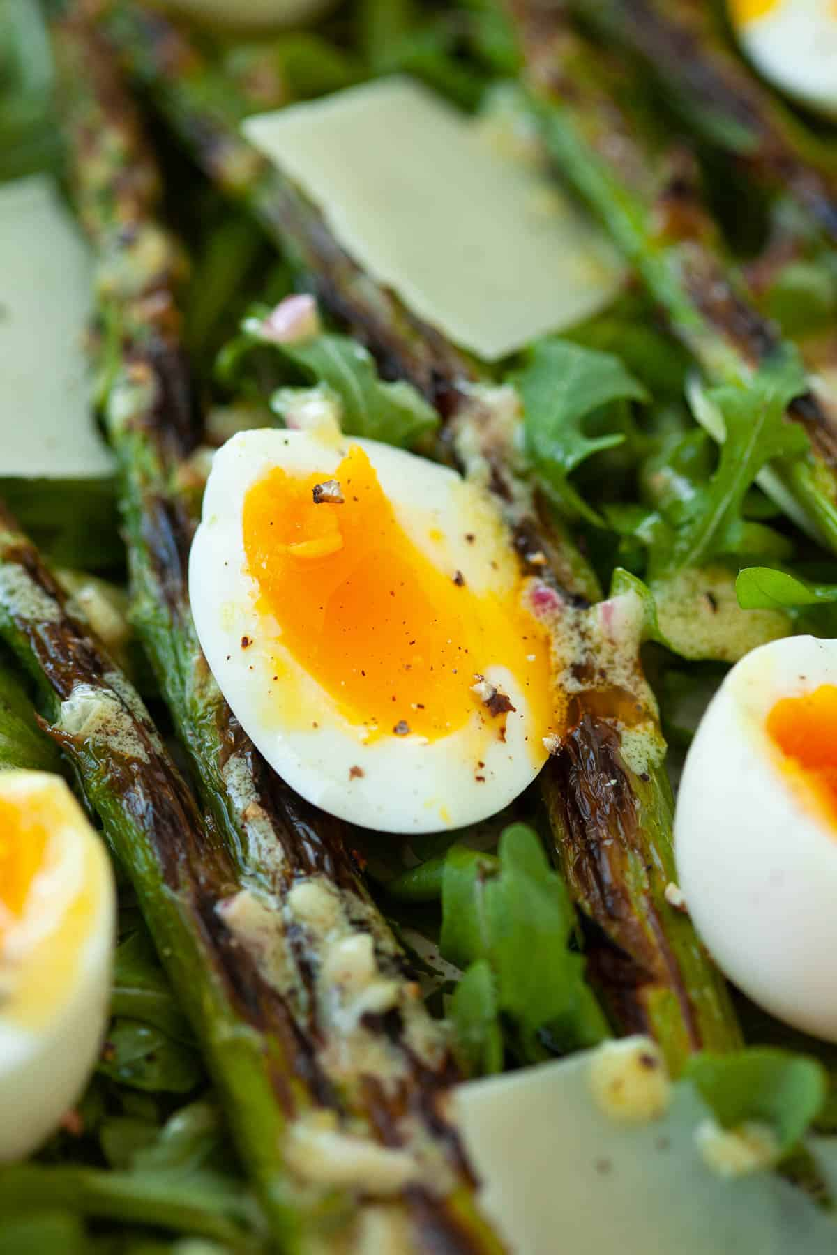 charred asparagus salad with soft boiled egg