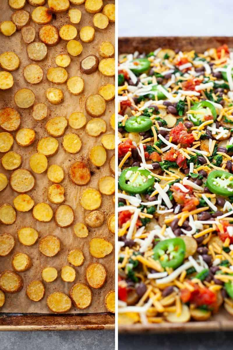 two photos showing thinly sliced potatoes and toppings like shredded cheese, jalapenos, and black beans