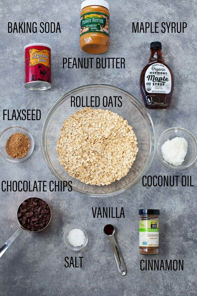 ingredients to make vegan chocolate chip cookies such as rolled oats, maple syrup, peanut butter