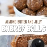 two photos showing energy balls with text overlay for Pinterest