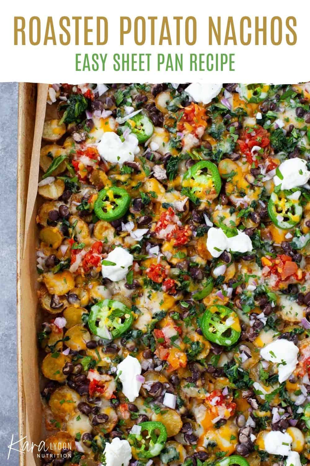 roasted potato nachos on a sheet pan with text overlay for Pinterest
