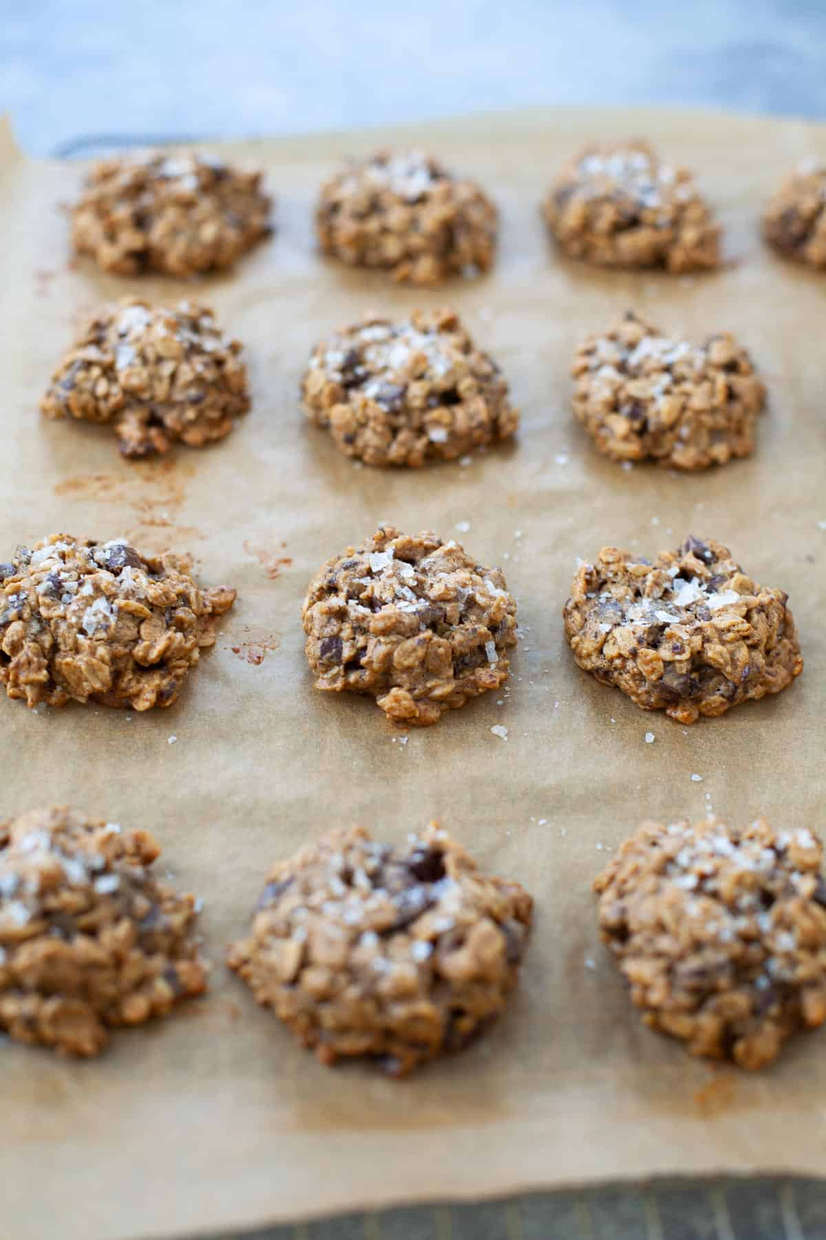 vegan peanut butter chocolate chip cookies with sea salt spread out on baking sheet